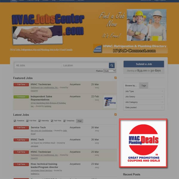 HVAC Banner Advertising on HVACJobsCenter.com