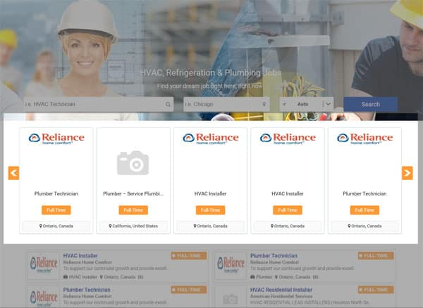 Jobs Featured on HVAC Jobs Center's Homepage